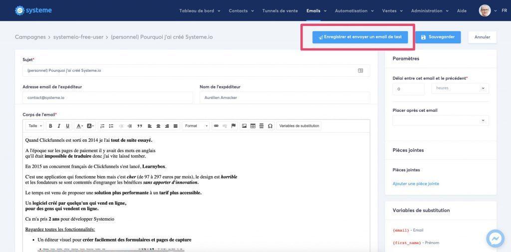 autorépondeur Systeme.io et email