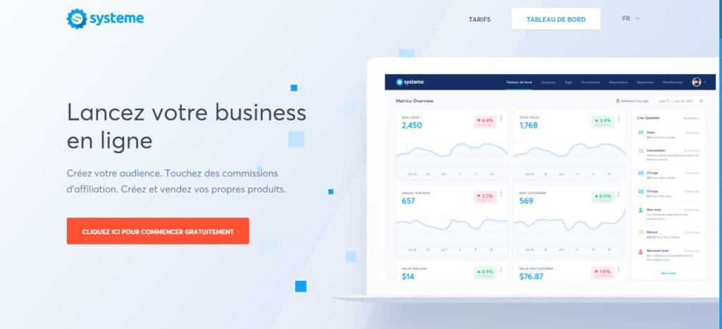 logiciel Systeme.io pour héberger vos produits